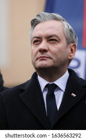 Poland, Czestochowa - 03 January 2020: portrait of Robert Biedron Left candidate for President of Poland during a press conference in front of the Municipal Hospital in Czestochowa