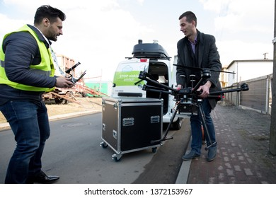 POLAND, Czestochowa 09 March 2018: Eko patrol GIG monitors the air quality with the help of specialized equipment, including drone