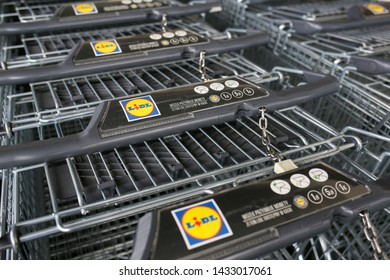 POLAND, CZESTOCHOWA - 20 June 2019: shopping carts LIDL supermarket. LIDL is a German discount chain founded in 1973 by German merchant Dieter Schwarz.