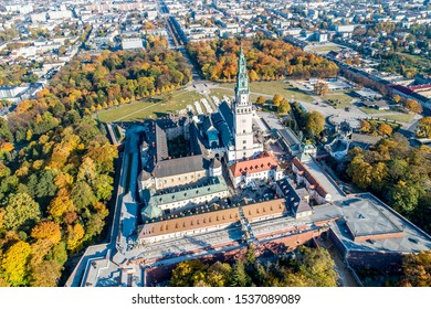 Poland, Czestochowa. Jasna Gora fortified monastery and church on the hill. Famous historic place and Polish Catholic pilgrimage site with Black Madonna miraculous icon. Aerial view in fall - Shutterstock ID 1537089089
