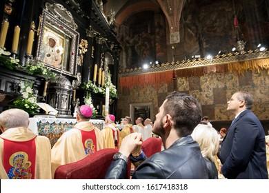 Poland, Czestochowa, Jasna Gora Monastery (Clarus Mons) - 28 July 2017: the first unveiling of the Wonderful Image of the Black Madonna of Czestochowa/Our Lady of Czestochowa with new crowns