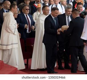 POLAND, CZESTOCHOWA, SILESIA -  02 September 2018: President of Poland Andrzej Duda and Minister of Agriculture Jan Ardanowski during the harvest festival on The Jasna Gora Monastery in Czestochowa