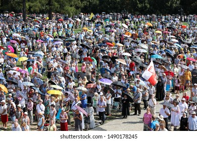 POLAND, Czestochowa-09 August 2019:  pilgrims are coming to the Monastery of Jasna Gora (Luminous Mount, Clarus Mons) in Czestochowa to the Feast of the Assumption of the Blessed Virgin Mary 15 Augus