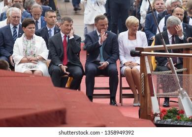 Poland, Czestochowa,26 August 2017: Andrzej Duda, Agata Kornhauser-Duda, Beata Szydlo during celebration of the 300th anniversary coronation Wonderful Image of the Our Lady in Jasna Gora Monastery