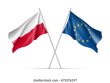 Poland and European Union waving flags on flagpole. EU sign with twelve gold stars on blue and Poland national symbol white and red colors. Two flags isolated on white background