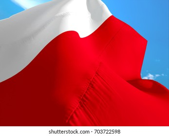Poland flag. 3D Waving flag design. Red and white flag.The national symbol of Poland. Polish National colors. National flag of Poland for a background sign on texture flags waving 3d