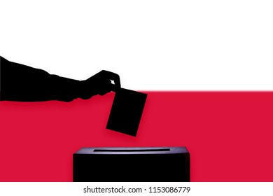 Poland flag with ballot box during elections / referendum
