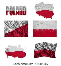 Poland flag and map in different styles in different textures