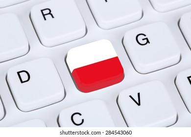 Poland flag online internet on computer keyboard