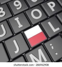 Poland flag over key on keyboard, 3d render, square image