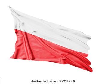 Poland flag waving  on white  background.