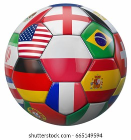 Poland football with world national teams flags around. Clipping path included for easy selection. 3D illustration.