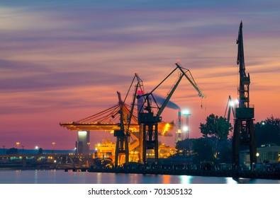 POLAND, GDYNIA: August 10, 2017: Port of Gdynia at night