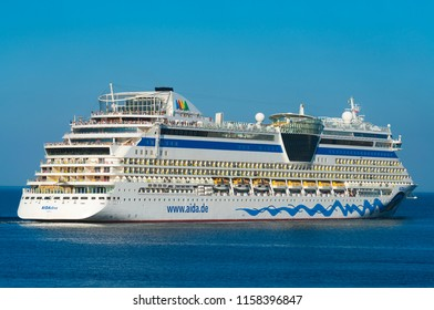 POLAND, GDYNIA: AUGUST 30, 2017; AIDA diva big cruise ship operated by the German cruise line AIDA Cruises sailing from the port of Gdynia in Poland