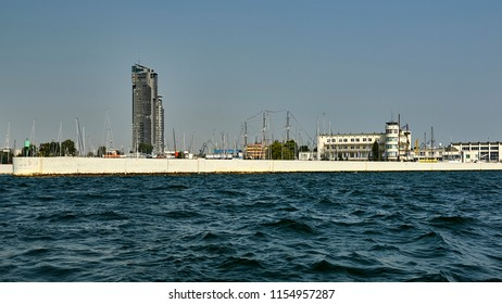 Poland, Gdynia, a port city on the Baltic Sea, a view of Harbor Master's Office, on the left a high residential building, See Tower