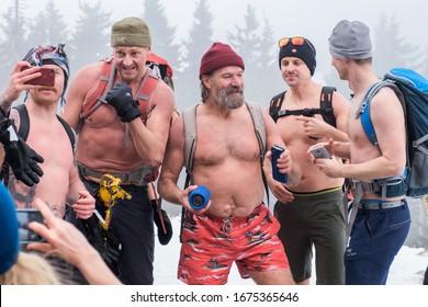 POLAND - January 27/2020: Winter expedition of Wim Hof from the Czech to Poland through the mountains Karkonoska, Przesieka.