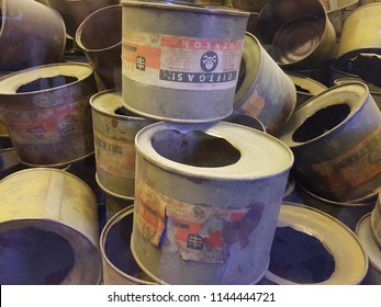 Oświęcim, Poland - July 22 2018: Empty cans of Zyklon B  a cyanide-based pesticide  infamous for its use by Nazi Germany during the Holocaust at Auschwitz-Birkenau