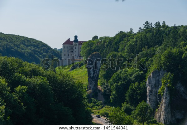 SUŁOSZOWA, POLAND - JUNE 29, 2019: View on Pieskowa Skała castle from a rock
