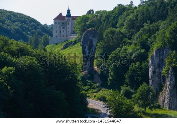 SUŁOSZOWA, POLAND - JUNE 29, 2019: View on Pieskowa Skała castle from a rock