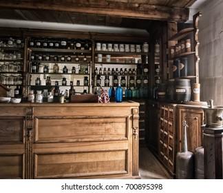 Poland, Kielce, 2017. 08. 03. Vintage medications. Bottles on the shelf in old pharmacy,