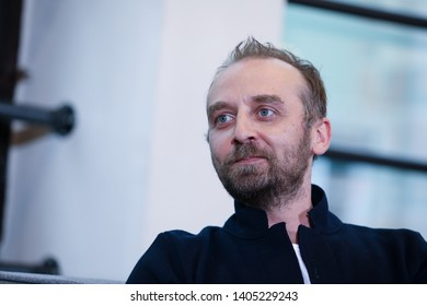 POLAND, KRAKOW - 29 April 2019: Wojciech Mecwaldowski Polish film, television and stage actor. Interview during the OFF CAMERA festival