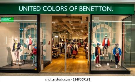 POLAND, KRAKOW - March 19, 2018: United Colors of Benetton store in Galeria Krakowska.