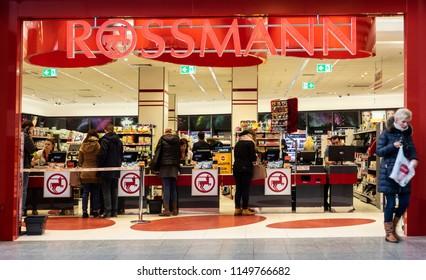 POLAND, KRAKOW - March 19, 2018: Rossmann store in Galeria Krakowska.