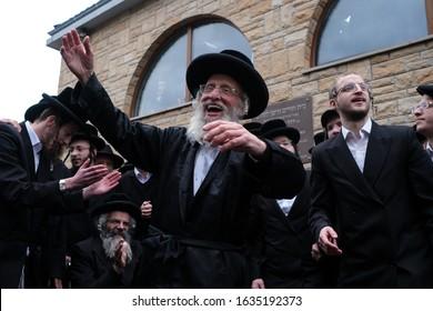 Poland, Lelow- 2 February 2020: Hassidic jews celebrating during Hasidic holiday of the 206 anniversary of tzadik Dawid Biderman's death