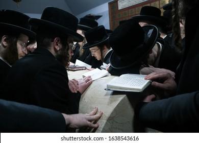 Poland, Lelow- 2 February 2020: Hassidic jews praying during Hasidic holiday of the 206 anniversary of tzadik Dawid Biderman's death