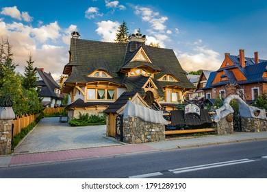 Poland. Lesser Poland Voivodeship. Tatry mountains. City of Zakopane 07.08.2016 - a historic wooden building in the center of Zakopane.