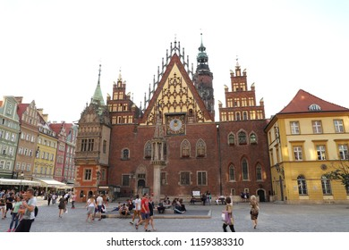 POLAND, LOWER SILESIA, WROCLAW - JUNE 29, 2018: Eastern side of the Old Town Hall in Wroclaw.