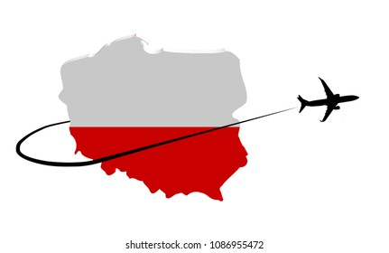 Poland map flag with plane silhouette and swoosh 3d illustration