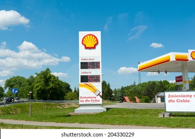 """POLAND  - MAY 20: Shell gas station on May 20, 2014 in Zegrze City, Poland. According to big corporation in Poland, The network is taking over the Shell in 2014 petrol stations """"Neste"""""""