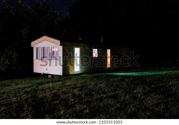 Poland, May, 31, 2018: night small tourist house in Poland