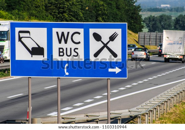 Poland - May, 31, 2018: pointer to the hotel, cafe and WC on a highway