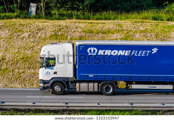 Poland - May, 31, 2018: truck on a highway in Poland