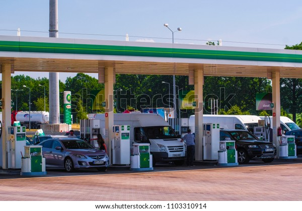 Poland - May, 31, 2018: Trucks and cars on a petrol station in Poland