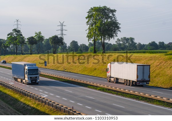 Poland - May, 31, 2018: trucks on a highway in Poland
