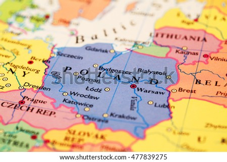 Poland On The World Map.Poland On Atlas World Map Stock Photo Edit Now 477839275