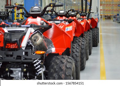 Poland, Opole, 2014 Polaris factory opening. Series of Polaris quads waiting for pick up Open event. No credential needed.