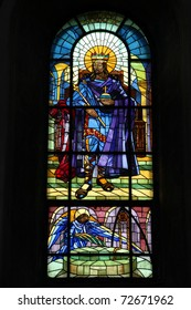 Poland - Plock cathedral. Stained glass window depicting Saint Sigismund, the king of Burgundy.