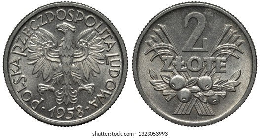 Poland Polish aluminum coin 2 two zlote 1958, country name surrounds eagle, denomination above crossed grain stalks and bunch of fruits, - Shutterstock ID 1323053993