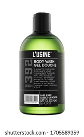 POLAND, POZNAN: November 10, 2019; Body wash gel douche from L'usine brand cosmetics isolated on the white background with clipping path.
