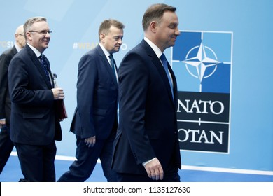 Poland President Andrzej Duda arrives for the second day of a NATO summit in Brussels, Belgium, July 12, 2018.