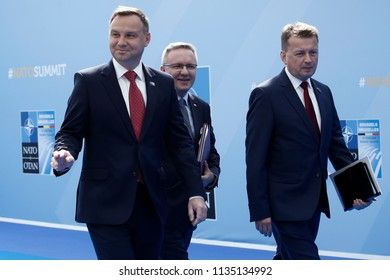 Poland President Andrzej Duda arrives for the first day of a NATO summit in Brussels, Belgium, July 11, 2018.