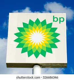 POLAND - SEP 27: BP - British Petroleum petrol station logo on Sep. 27, 2015 in Poland. British Petroleum is a British multinational oil and gas company headquartered in London, England.