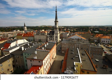 Ząbkowice Śląskie, Poland - September 11, 2018: Aerial view of central part of old town with a town hall with extremelly high tower. Former name of the town is Frankenstein in Schlesien