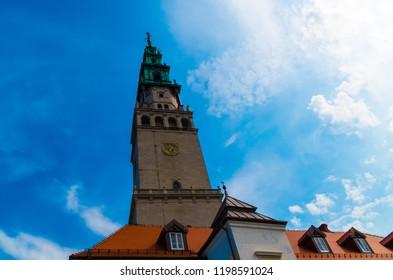 CZĘSTOCHOWA, POLAND - September 2, 2018: Brown clock tower under clear day sky.