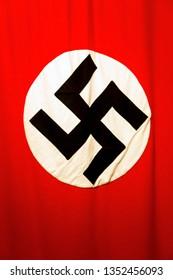 KRAKÓW / POLAND – SEPTEMBER 28 2016: Old nazi flag at Museum and former Factory of Oskar Schindler.