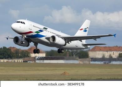 POZNA?, POLAND - SEPTEMBER 9: Volkswagen Group, Airbus A319 (registration VP-CVX) takes off Pozna? ?awica Airport - POZ. September 9, 2015.